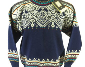 Vintage 90s Dale of Norway Fiemme Sweater Mens L Deadstock Classic Pure Wool [H79N_2-3_Shelf]
