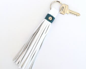 Freya Leather Tassel Key Ring:  White with Teal bovine leathers
