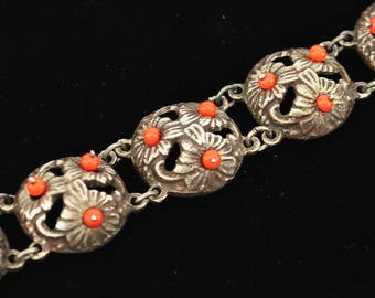 Early Mexican Silver Red Coral Bracelet