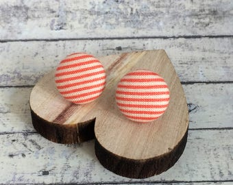 Silver Plated Button Stud Earrings - Fabric Button Studs - Tangerine Coral Pink Stripes