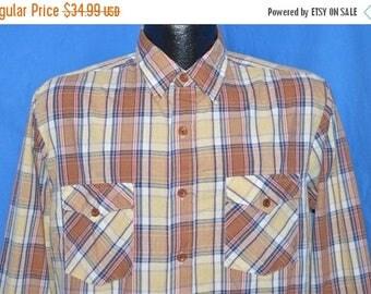 ON SALE 80s Brown Blue Plaid Button Down Shirt Medium