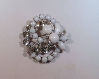 White and Clear Eisenberg Brooch