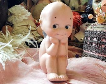 Vintage Rose Oneill thinker Kewpie antique porcelain thinking baby doll bisque blue wing dreamer sitting kewpie
