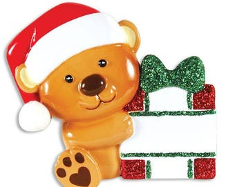 Little Brown Bear Personalized Christmas Ornament / Bear Holding Present / Baby's First / Kids