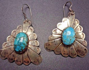Signed Vintage NAVAJO Hand Stamped Sterling Silver Conchos & TURQUOISE EARRINGS