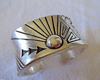 Signed NAVAJO Abraham Begay Heavy Gauge Hand-Tooled SterlingSilver CUFF BRACELET