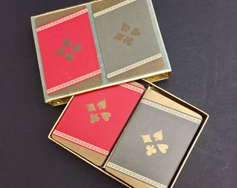 Mid-Century Congress Playing Cards-  Four Suits- Hearts, Diamonds, Clubs, Spades- 2 Decks in Original Box - Gray, Gold, Red