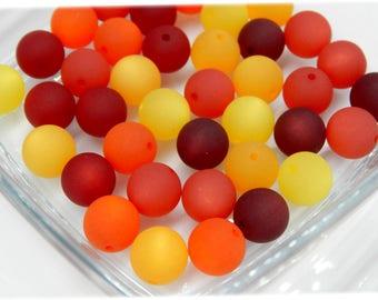 20 original Polaris beads 12 mm summer MIX red orange yellow