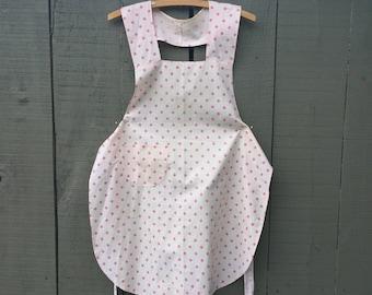 Farm apron vintage pink polka dot handmade