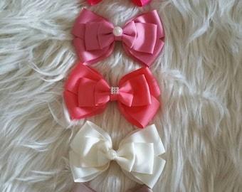 Back to school bows, bow set, girl hair bows, hair clips