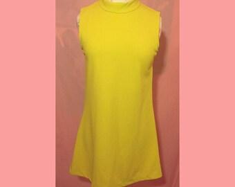 90s does 60s lime green high collar mini shift dress