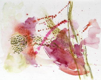 Abstract watercolor painting - Herds #7