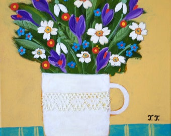 Spring Flowers Painting, Snowdrops, Primroses, Crocuses, Forget-me-not Flowers, White Vase with Lace, Spring Artwork, Floral Art