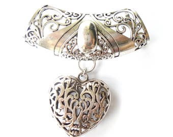 Elegant Heart Scarf Pendant With Large Floral Bails For Jewelry Scarf Perfect Gift