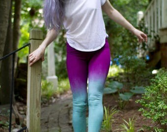 Handmade Yoga Leggings, Aqua Leggings, Armor Leggings, Tie Dye Yoga Pants, Colorful Yoga Pants, Unique Yoga Leggings