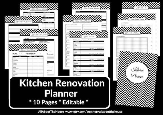 Kitchen remodel checklist planner printable renovation home ...