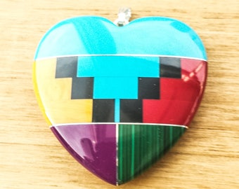 Zuni Inlayed Extra Large Heart  with bail 45x45mm (Style two)
