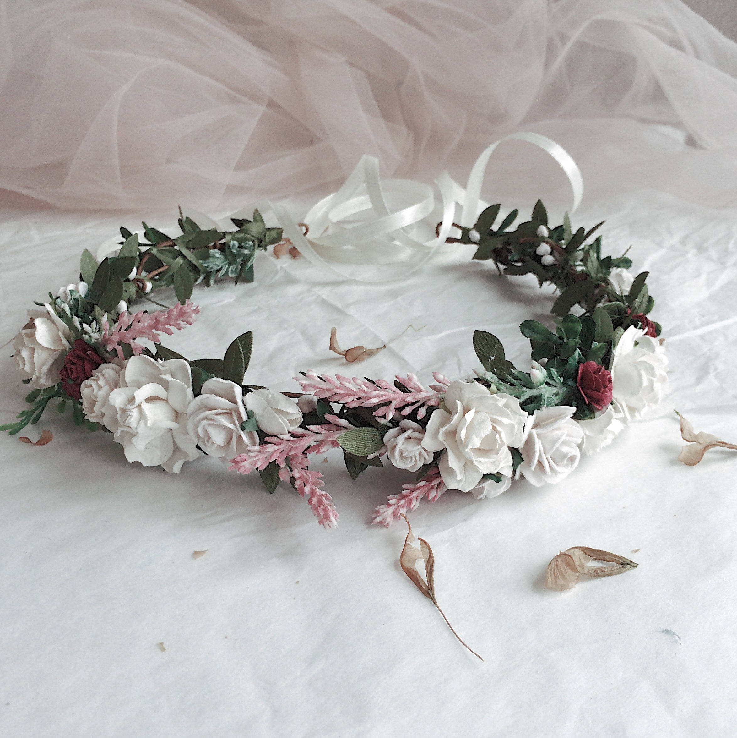Blush and white and burgundy flowers crown greenery and white blush and white and burgundy flowers crown greenery and white flowers crown bridal floral mightylinksfo Choice Image