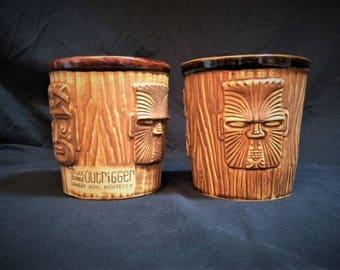 Two Mark Thomas Outrigger Cannery Row Monterey CA Pottery Tiki mugs