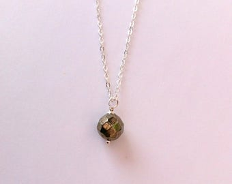 Faceted pyrite pendant necklace