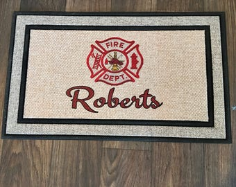 Firefighter Rug/ Firefighter Gift Personalized Door Mat/ Firefighter Wedding Gift/ Firefighter House Decor/ Firefighter Gift for Him/ EMT