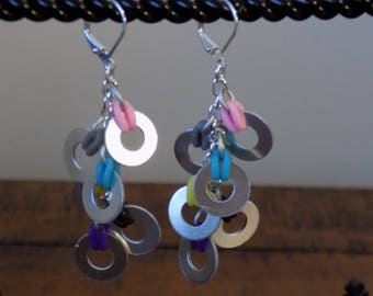 Lever Back Chain Multi Color Washer Earrings