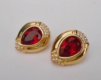 Swarovski Crystal Earrings Ruby Red Teardrop Pierced Authentic Signed S.A.L.