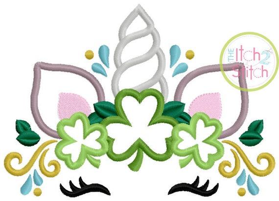 SAMPLE SALE, St Patrick's Day Unicorn Embroidered Shirt - Unicorn Horn - Unicorn Face - Unicorn Eyelashes - Unicorn Birthday Shirt