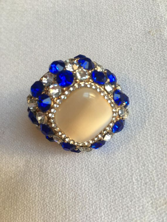 Big 90's Bling! Sapphire & Diamanté Crystal with Satin Glass Cabochon Runway High End Over the Top Exquisite Cocktail Ring Size 9