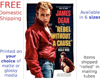 James Dean - Rebel without A Cause - Digitally Restored & Retouched Movie Poster (505456393)
