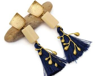 Blue statement earrings, Clip on earrings, Blue tassel earrings, Blue dangle, Long Blue earrings, Boho jewels, Fringe earrings, Gift for her