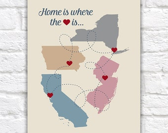Home is where the HEART is, Personalized Map Sign, Choose up to 4 MAPS, Family Gift, Housewarming, Home Maps, Multi State, Custom   WF417