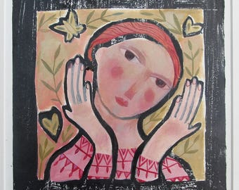 Girl in pink with butterfly and hearts. Original hand painted lino print