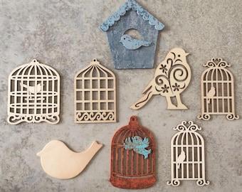 Bird Birdhouse Wood Cutout Lot