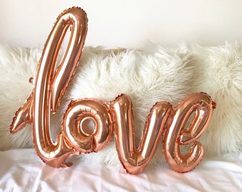 Love Script Rose Gold Balloon Gold Foil Bachelorette Party Bridal Shower Wedding Mylar Balloon Birthday Baby Shower Valentines Party