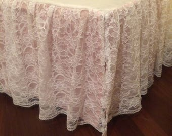 "14"" White lace ruffle and pink cotton background Crib Skirt"