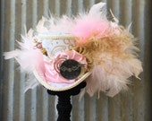 Mini Top Hat, Tea Party Hat, Alice in Wonderland Hat, Mad Tea Party, Mad Hatter Hat, Gold and Pink Hat, Kentucky Derby Hat, Bridal