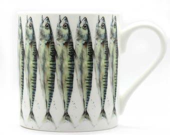 Sardines Mug - Fish Mug - Fine Bone China Mug, Coastal Decor, Seaside Gift, New Home Gift, Christmas Gift