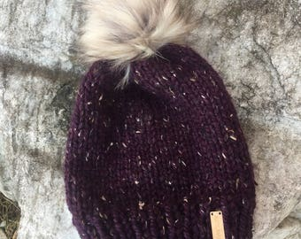 Adult Regular Slouchy Beanie \ Toque with Faux Fur Pom Winter Hat Warm Hat