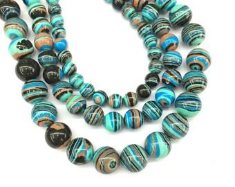Malachite Beads, Rainbow Malachite Gemstone Beads, Smooth Round Beads, Loose Beads 6mm 8mm 10mm 12mm 15''