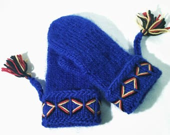 Swedish Lovikka mittens, handmade genuine tradition. Blue embroidered Size L swedish mittens scandinavian design gift folklore