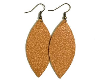 Large Leather Pointed Oval Leaf Shaped Earrings; Brown Textured Leather; Lightweight; Statement Earrings