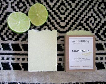 Margarita Cold Process Sea Salt Soap Small Batch Lime Orange Blossom Vegan - Summer Limited Edition