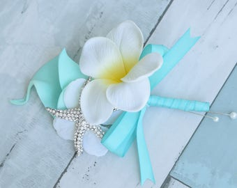 Aqua Turquoise Plumeria and Calla Lily Tropical Wedding Corsage - Brooch Starfish Wedding Corsage - Beach Wedding Prom Corsage