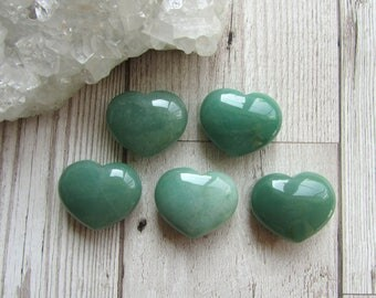 32x25mm Green Aventurine Puff Heart - Gemstone Heart - Carved Stone Natural Gift - Small Puff Heart