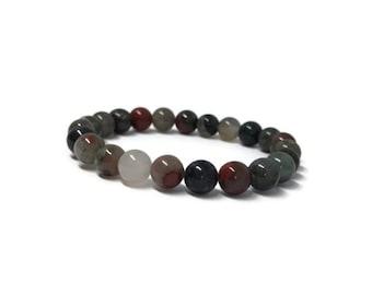 African Bloodstone Mala bracelet, Bloodstone bracelet, Chakra bracelet, Boho bracelet, Yogi bracelet, Green Bloodstone bracelet