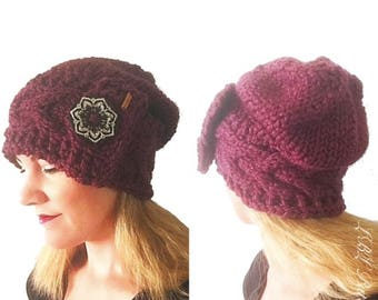 PATTERN: Ireland Winter Slouchy Hat Cable Knit Brim with Large Button, Chunky Knit Slouchy Beanie with Cabled Brim, Head Wrap Cable Knitting
