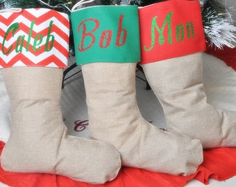 Burlap Christmas Stockings Home Decor - Personalized Customized Large Stocking for DIY Stockings Supplies