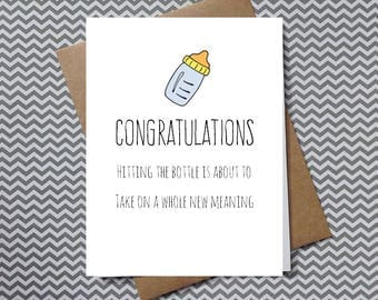 pregnancy congratulations, pregnancy card, funny pregnancy, having a baby card, card for new mom, hitting the bottle