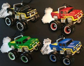 Monster Truck Personalized Christmas Ornaments